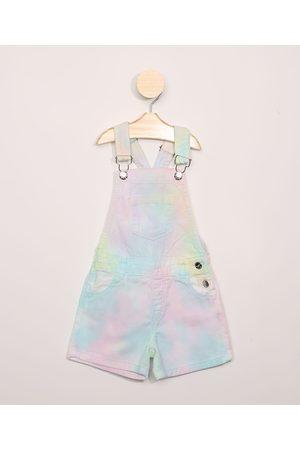 PALOMINO Jardineira de Sarja Infantil Estampada Tie Dye com Bolsos Multicor