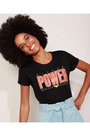 DC Mulher Camiseta - Camiseta de Moletinho Feminina Mulher Maravilha Manga Curta Decote Redondo Preta