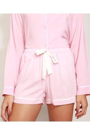 C&A Short de Pijama Feminino com Vivo Contrastante e Laço