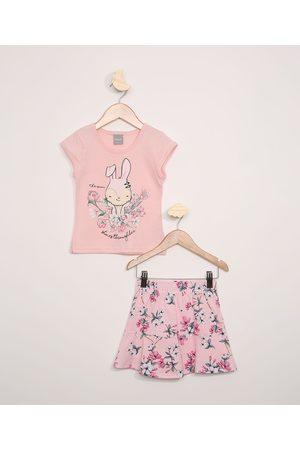 Brandili Menina Saia Estampada - Conjunto Infantil Mundi Blusa Manga Curta + Short Saia Estampado Floral