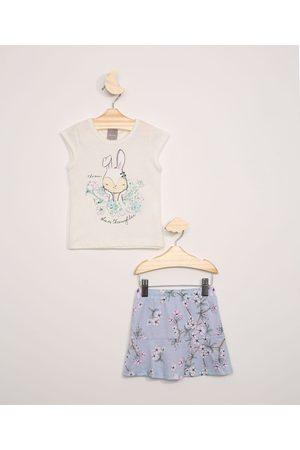 Brandili Conjunto Infantil Mundi Blusa Manga Curta Branca + Short Saia Estampado Floral Azul Claro