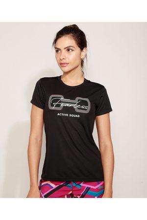 """ACE Camiseta Feminina Esportiva Active Squad"""" Manga Curta Decote Redondo Preta"""""""
