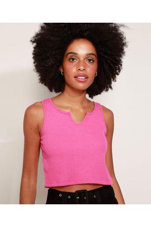 Basics Mulher Regata - Regata Canelada Feminina Cropped Alça Média Decote V Pink