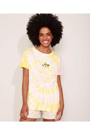 Cartoon Network Camiseta Feminina Estampada Tie Dye As Meninas Superpoderosas Manga Curta Decote Redondo Multicor
