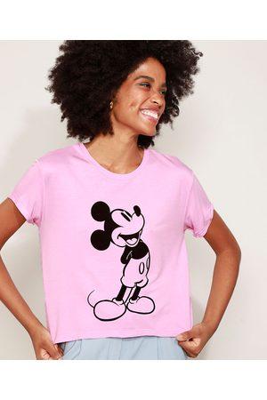 Disney Mulher Camiseta - Camiseta de Moletinho Feminina Mickey Manga Curta Decote Redondo