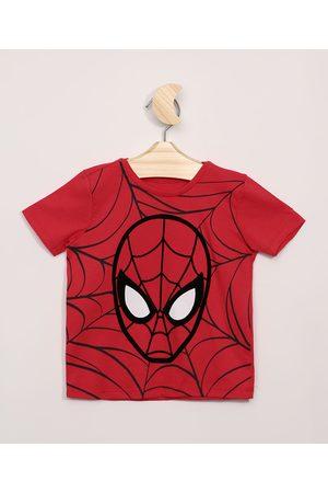 Marvel Homem Manga Curta - Camiseta Infantil Homem-Aranha Manga Curta Vermelha