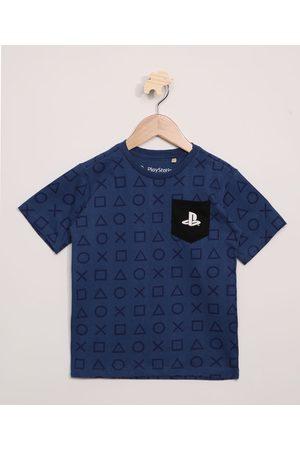 Playstation 3 Camiseta Infantil Estampada com Bolso Manga Curta Azul Marinho