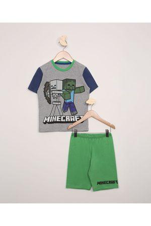 Minecraft Pijama Infantil Manga Curta Raglan Mescla