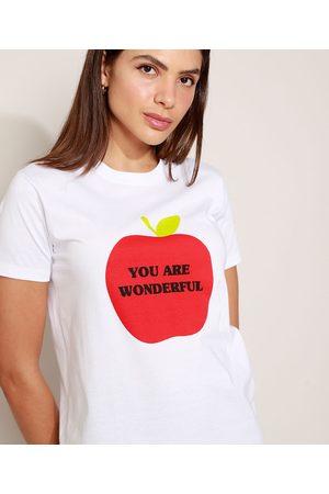Mindse7 T-Shirt Feminina Mindset Maçã Manga Curta Decote Redondo Branca