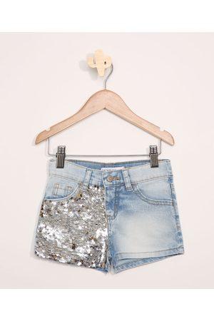 PALOMINO Short Jeans com Paetê Dupla Face e Bolsos Claro