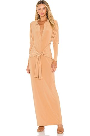 Norma Kamali Ty Front NK Midcalf Shirt Dress in Tan. - size L (also in M, S, XS)