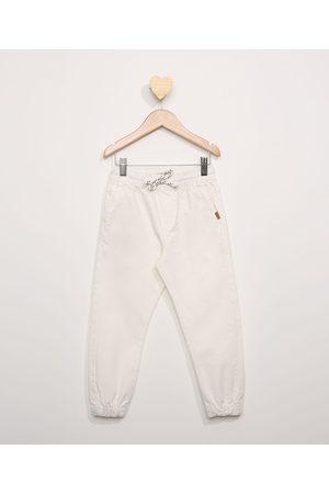 PALOMINO Calça de Sarja Infantil Jogger com Cordão Off White