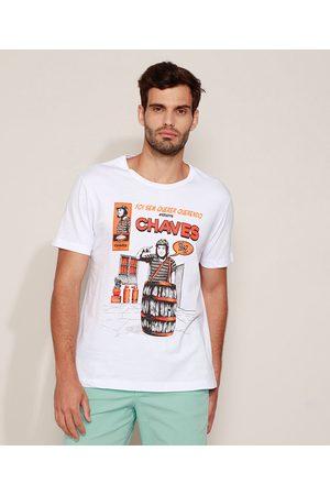 Chaves Camiseta Masculina Manga Curta Gola Careca Branca