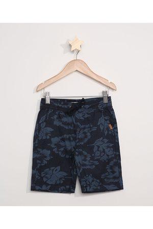 PALOMINO Bermuda Jeans Infantil Reta Estampada Folhagem Azul Marinho