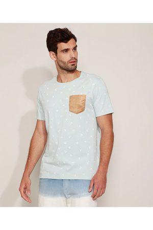 Clockhouse Camiseta Masculina Estampada com Bolso de Suede Manga Curta Gola Careca Azul Claro