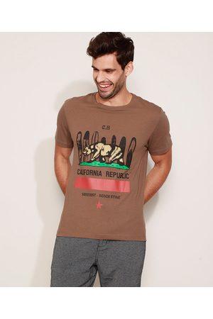 """Suncoast Camiseta Masculina California Republic"""" Manga Curta Gola Careca """""""