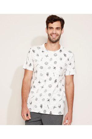 Clockhouse Camiseta Masculina Estampada de Caveiras Manga Curta Gola Careca Branca