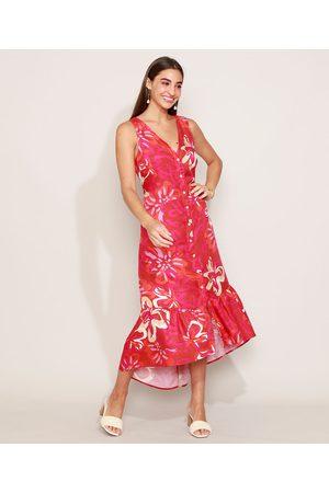 YESSICA Vestido Chemise Feminino Midi Floral com Babado Alça Larga Decote V Vermelho