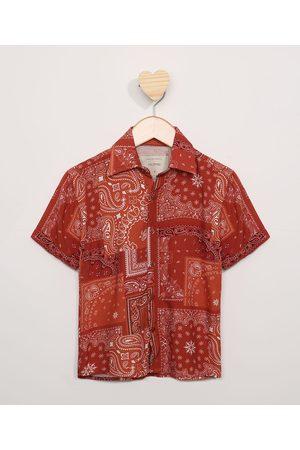 PALOMINO Camisa Infantil Estampada Paisley Manga Curta Vermelha