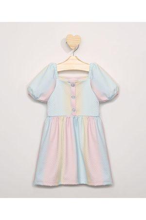 BABY CLUB Vestido Infantil Tie Dye Manga Curta Bufante Multicor