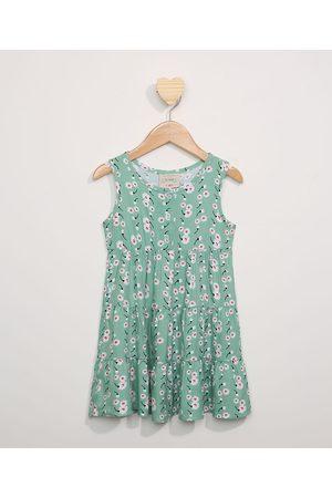PALOMINO Vestido Infantil Amplo com Recortes Floral Sem Manga Verde