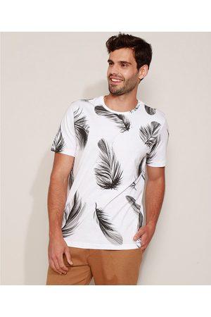 Clockhouse Camiseta Masculina Estampado de Penas Manga Curta Gola Careca Branca