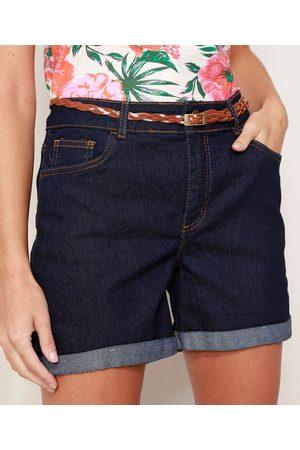 YESSICA Short Jeans Feminino Midi com Cinto Cintura Média Escuro