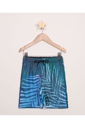 PALOMINO Bermuda Surf Infantil Estampada de Folhagem com Cordão e Bolsos Azul