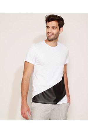 AL Contemporâneo Camiseta Masculina com Recorte Manga Curta Gola Careca Branca