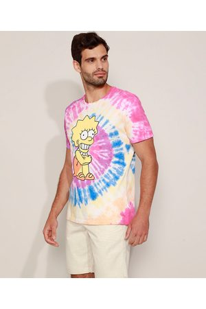 Os Simpsons Homem Manga Curta - Camiseta Masculina Lisa Simpson Estampada Tie Dye Manga Curta Gola Careca Multicor