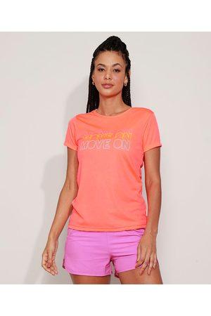 "ACE Mulher Camiseta - Blusa Feminina Esportiva Move On"" Manga Curta Decote Redondo Coral"""