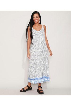 Clockhouse Vestido Feminino Longo Floral com Barrado Alça Média Off White