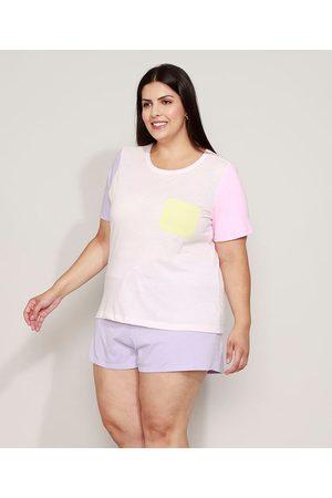 Design Íntimo Pijama Feminino Plus Size com Bolso Manga Curta Colorida Claro