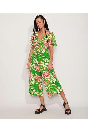 YESSICA Macacão Feminino Pantacourt Floral com Vazado e Nó Manga Curta Ampla Verde