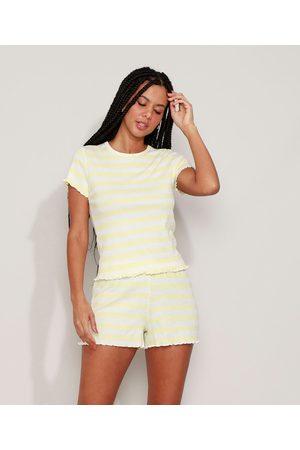 Design Íntimo Mulher Pijamas - Pijama Feminino Canelado Listrado com Frufru Manga Curta Amarelo