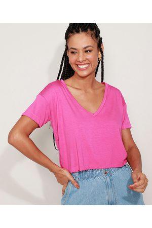Basics Camiseta Feminina Básica Cropped Manga Curta Decote V Pink