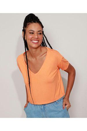 Basics Camiseta Feminina Básica Cropped Manga Curta Decote V