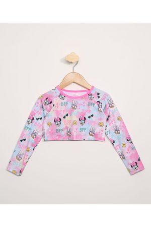 Disney Blusa de Praia Infantil Cropped Minnie Manga Longa com Proteção UV50+ Rosa