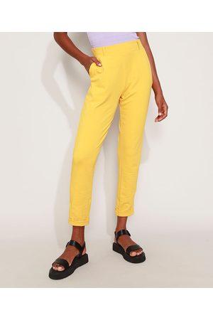 YESSICA Mulher Calça Jogger - Calça Feminina Jogger Cintura Alta com Bolsos Amarela