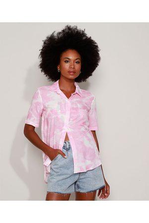 Clockhouse Camisa Feminina Longa Estampada Tie Dye Manga Curta Rosa
