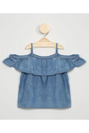 PALOMINO Blusa Jeans Infantil com Babado Open Shoulder Manga Curta Azul Médio