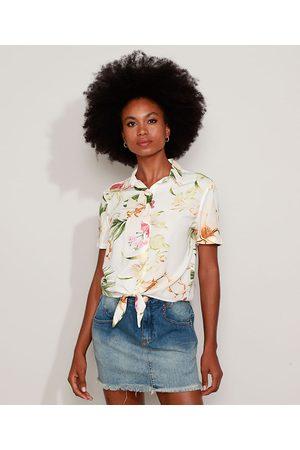 Clockhouse Camisa Feminina Estampada Floral com Nó Manga Curta Off White
