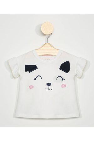 BABY CLUB Menina Manga Curta - Blusa Infantil Cachorro com Orelhinhas Manga Curta com Babado Off White