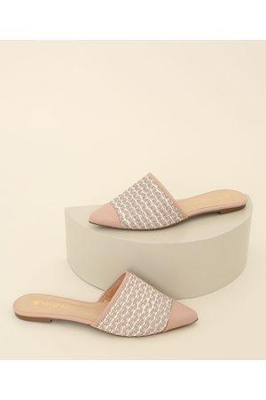 Via Uno Mulher Sapato Mule - Mule Feminino Texturizado Bico Fino