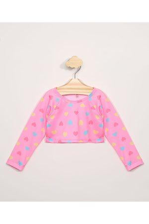 BABY CLUB Blusa de Praia Infantil Cropped de Corações Manga Longa com Proteção UV50+ Rosa