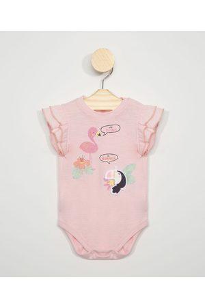 BABY CLUB Body Infantil com Estampa Interativa Flamingo Manga Curta de Babado