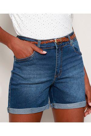 YESSICA Short Jeans Feminino Midi Cintura Média com Cinto e Barra Dobrada Médio