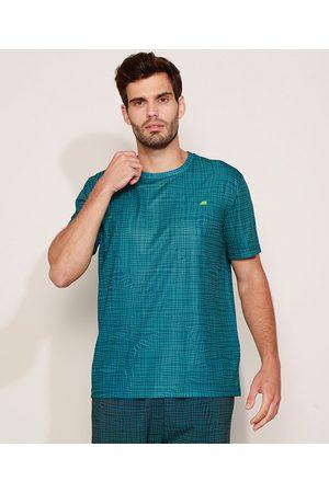 ACE Camiseta Masculina Esportiva Estampada Quadriculada Manga Curta Gola Careca Azul Petróleo