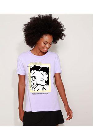 Betty Boop Mulher Camiseta - Camiseta Feminina Ampla Manga Curta Decote Redondo Lilás