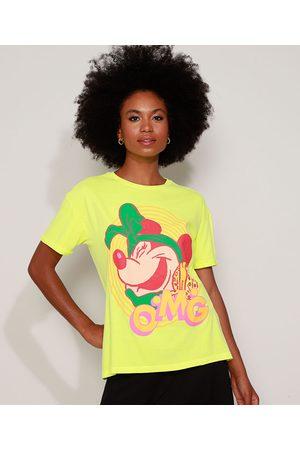 "Disney Mulher Camiseta - Camiseta Feminina Ampla Minnie OMG"" Manga Curta Decote Redondo Neon"""